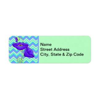 Purple Poppy Turquoise Green Zizzag Chevron Label