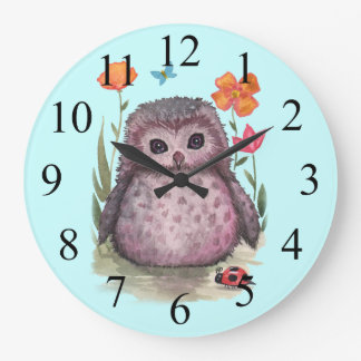 Purple Portly Owlet Cute Owl and Ladybug Clock