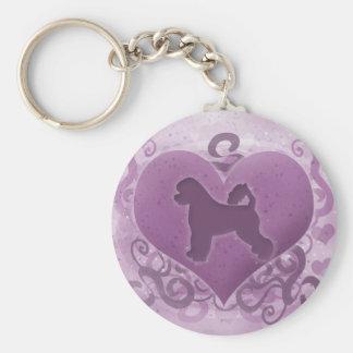 Purple Portuguese Water Dog Valentine Key Chain