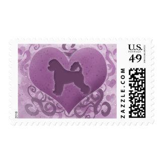 Purple Portuguese Water Dog Valentine Postage