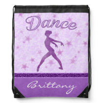 Purple Posing Dancer with a Cheetah Print Stripe Drawstring Backpack