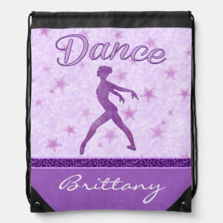 Purple Posing Dancer with a Cheetah Print Stripe Drawstring Backpack