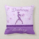 Purple Posing Dancer with a Cheetah Print Stripe Pillow