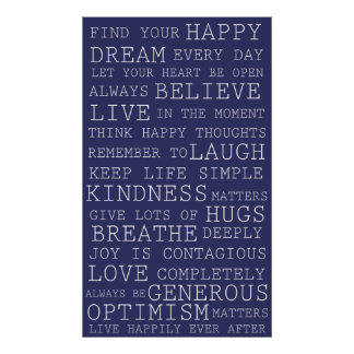 Purple Positive Thoughts Inspirational Words Posters
