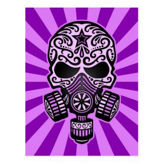 Purple Post Apocalyptic Sugar Skull Postcard