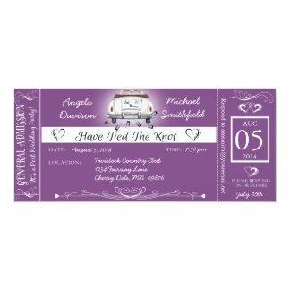 Purple Post Wedding Chalkboard Ticket Invitation