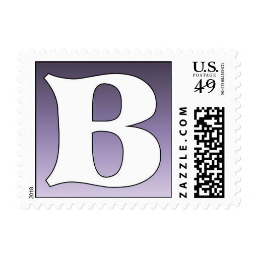 Purple Postage Stamp - Letter B