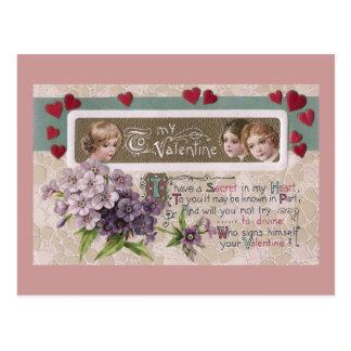 Purple Posy Secret Valentine Postcard