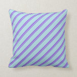 [ Thumbnail: Purple & Powder Blue Colored Pattern of Stripes Throw Pillow ]