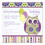 "Purple Power Birthday Owl Party Invitation 5.25"" Square Invitation Card"