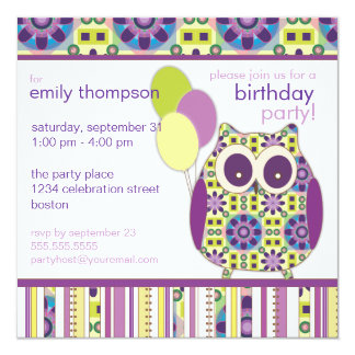 Purple Power Birthday Owl Party Invitation