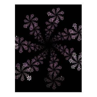 Purple Power Fractal Flower Hippie Love Design Postcard