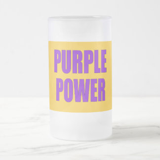 PURPLE POWER FROSTED GLASS BEER MUG