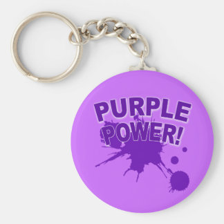 Purple Power with a Big Splat of Paint Key Chain
