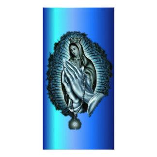 Purple Prayer Blessed Virgin Mary Photo Card