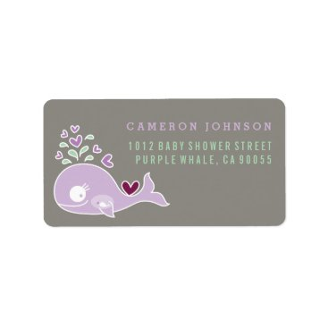 Beach Themed Purple Pregnant Whale Baby Shower Address Labels
