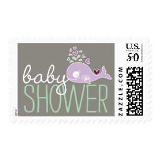 Purple Pregnant Whale Girl Baby Shower Postage