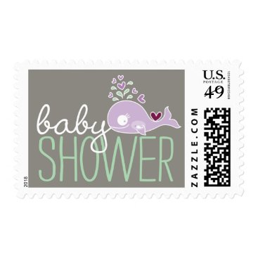 Beach Themed Purple Pregnant Whale Girl Baby Shower Postage