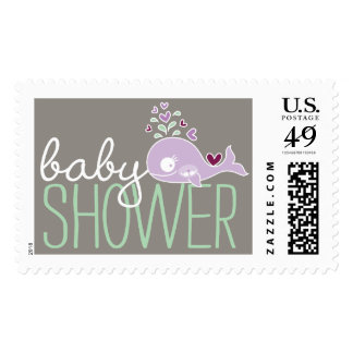 Purple Pregnant Whale Twins Baby Shower Postage