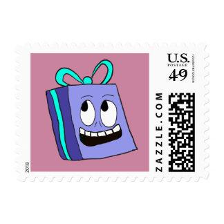 Purple Present Pete Cartoon Stamp