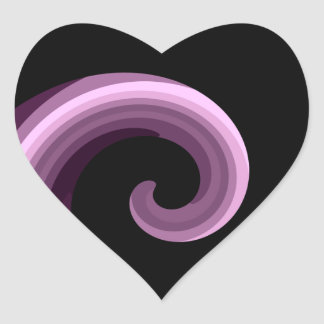 Purple pretty abstract swirl heart stickers