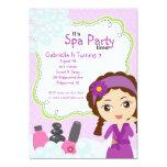"Purple Pretty Girl Spa Birthday Party 5"" X 7"" Invitation Card"