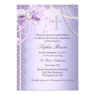 Purple Pretty Pearl Bow Cross First Holy Communion Card