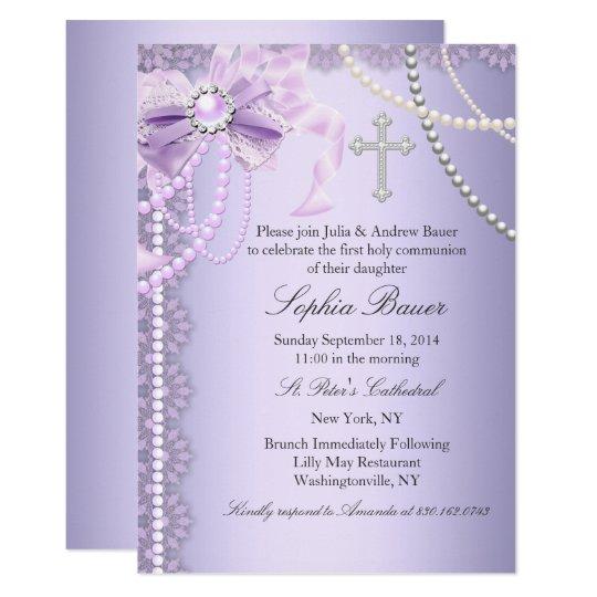 Purple Pretty Pearl Bow Cross First Holy Communion Invitation