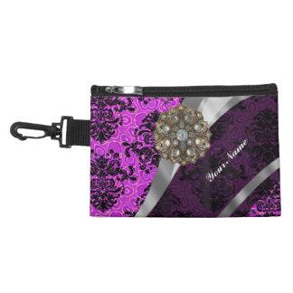 Purple pretty personalized girly damask pattern accessory bag