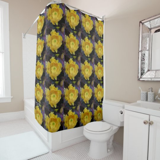 Purple prickly pear opuntia cactus yellow flowers shower curtain purple prickly pear opuntia cactus yellow flowers shower curtain mightylinksfo