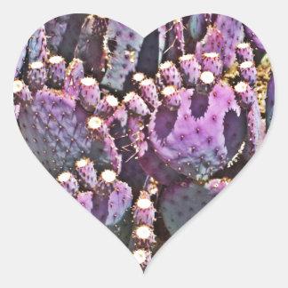 Purple Prickly Pear Heart Sticker