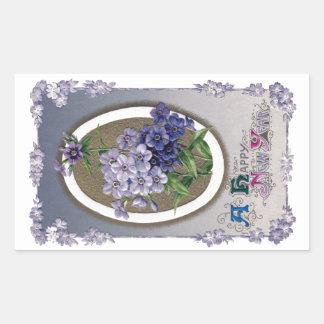 Purple Primrose Vintage New Year Rectangle Stickers