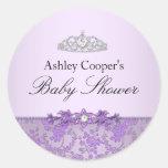 Purple Princess Baby Shower Sticker