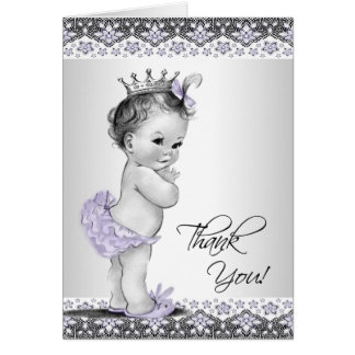 Purple Princess Baby Shower Thank You Stationery Note Card