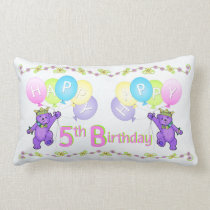 Purple Princess Bears 5th Birthday Lumbar Pillow