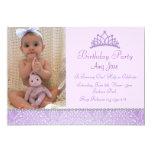 "Purple Princess Birthday Invitation 5"" X 7"" Invitation Card"