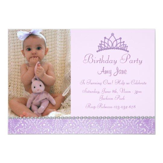Purple Princess Birthday Invitation
