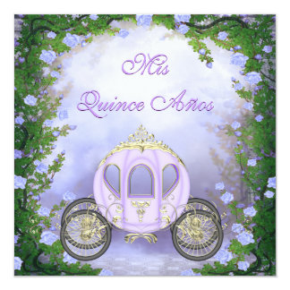 Purple Princess Carriage Enchanted Quinceanera Card