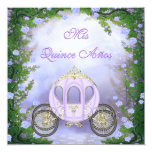 Purple Princess Carriage Enchanted Quinceanera Announcement