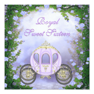 Purple Princess Carriage Enchanted Sweet 16 5.25x5.25 Square Paper Invitation Card