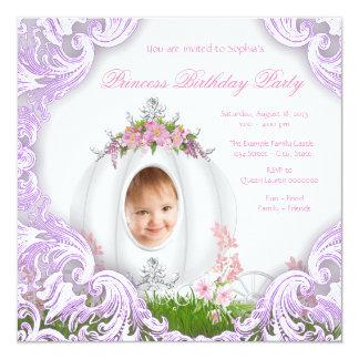 Purple Princess Carriage Photo Birthday Party Card