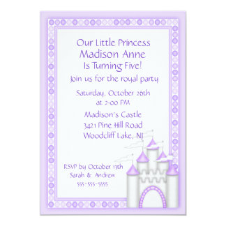 Purple Princess Castle Party Invitation