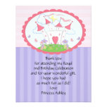 Purple Princess Castle Thank You Flat Card Personalized Invite