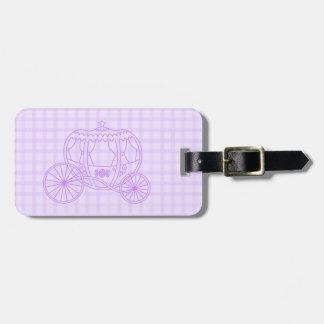 Purple Princess Coach on Check Pattern. Bag Tag