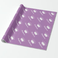 Purple princess crown baby shower wrappingpaper