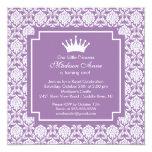 "Purple Princess Crown Birthday Party Invitation 5.25"" Square Invitation Card"