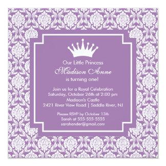 Purple Princess Crown Birthday Party Invitation