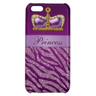 Purple Princess Crown Faux Glitter Zebra Print Cover For iPhone 5C