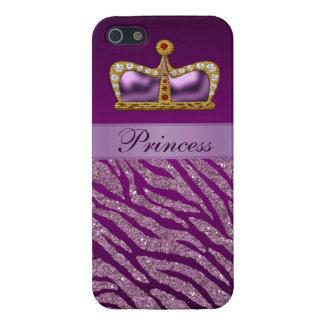 Purple Princess Crown Faux Glitter Zebra Print Cover For iPhone SE/5/5s