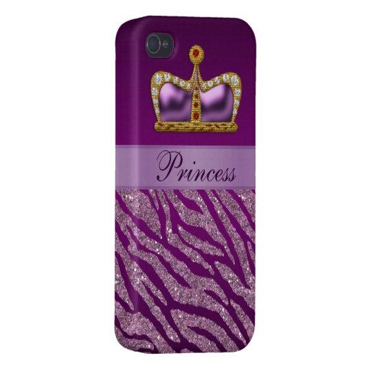 Purple Princess Crown Faux Glitter Zebra Print iPhone 4 Case